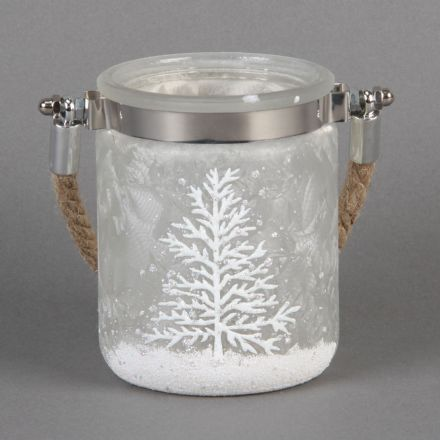 White Frosted Christmas Rope Candle Holder with Tree Design